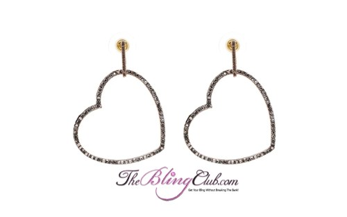the bling club gold black crystal heart earrings