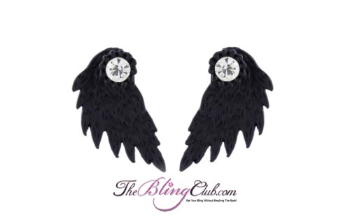 the bling club matte black angel wing earrings