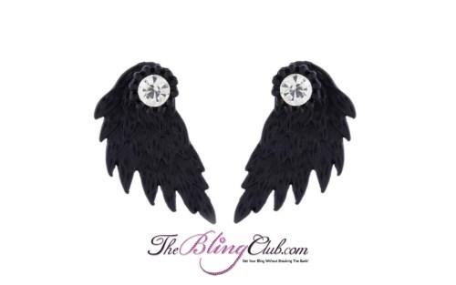 the bling club matte black angel wing earrings