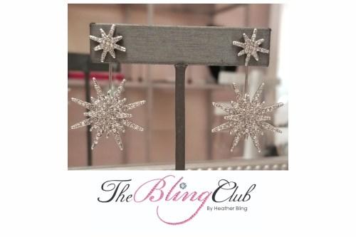 the bling club white star starburst crystal drop earrings