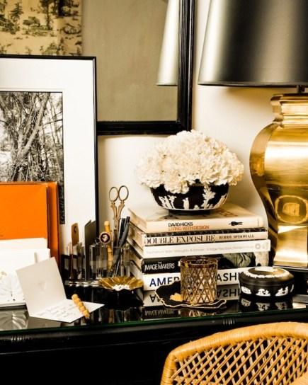 desk decor - black & gold.