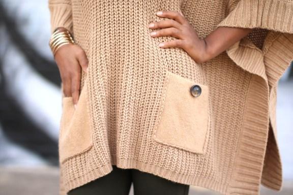 cape, olive, camel, fashionista, camel cape, sweater cape, cape sweater, brown blogger, style blogger, fall style