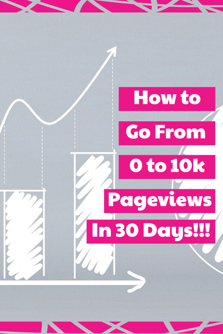 "Image of hand drawn graph with text overlay ""how to go from 0 to 10k pageviews in 30 days!!!"""