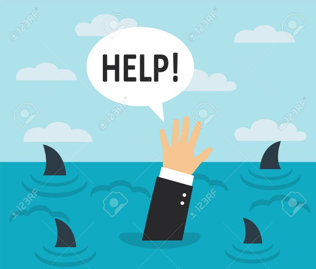81507625-businessman-drowning-in-the-sea-with-sharks-on-the-surface-of-the-water-a-man-s-hand-asks-for-help