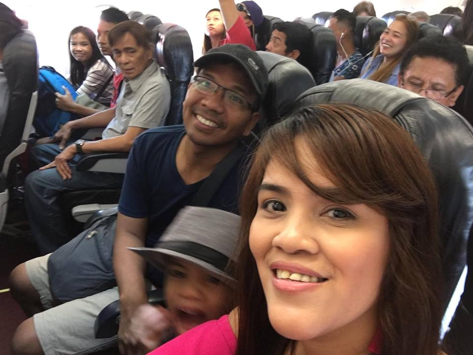 family pic in the plane to Boracay