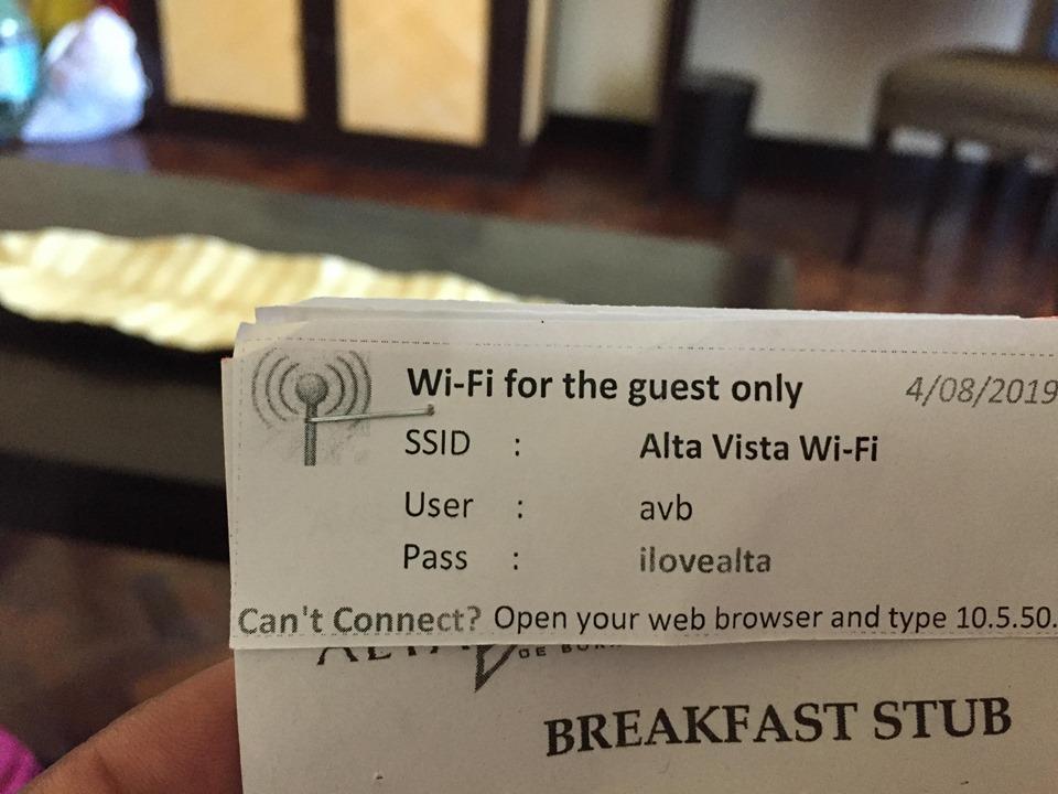 stubs and wifi password at Alta Vista de Boracay during our Boracay 2019 Day 3 vacation