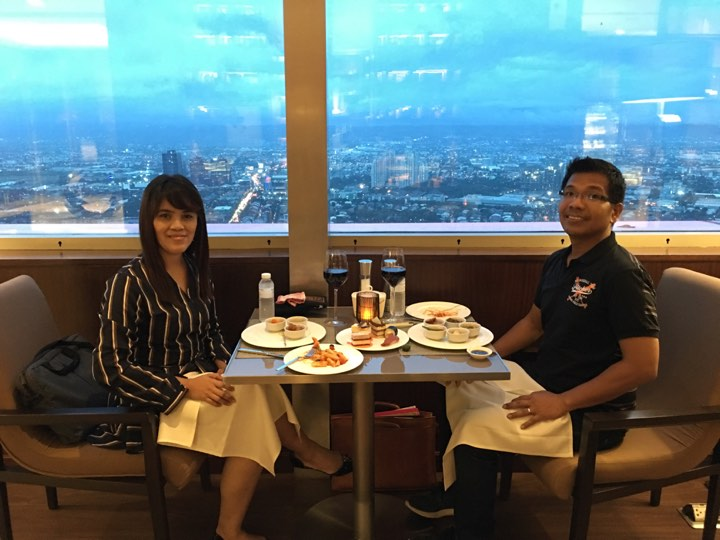 hubby and me at the Continental Club Lounge at Marco Polo Ortigas