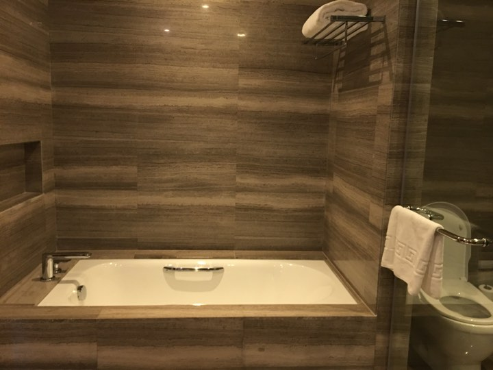 the bathtub.in our Continental Club room at Marco Polo Ortigas