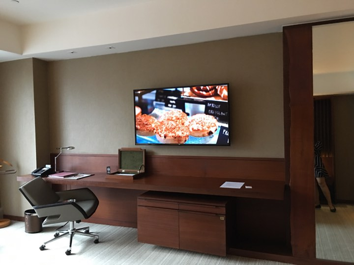 working desk and television in our continental club room at Marco Polo Ortigas