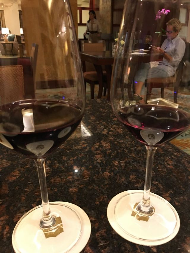 Cheers!  2 glasses of wine for our celebration at Edsa Shangri-la