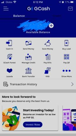 My GCash screen for sending money and bank transfers