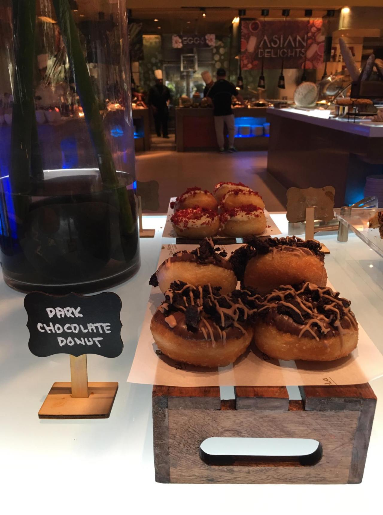 different flavors of doughnuts in our breakfast buffet at the HEAT