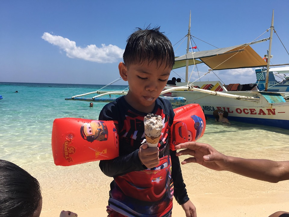 Bruce enjoying his ice cream in our Boracay 2019 vacation
