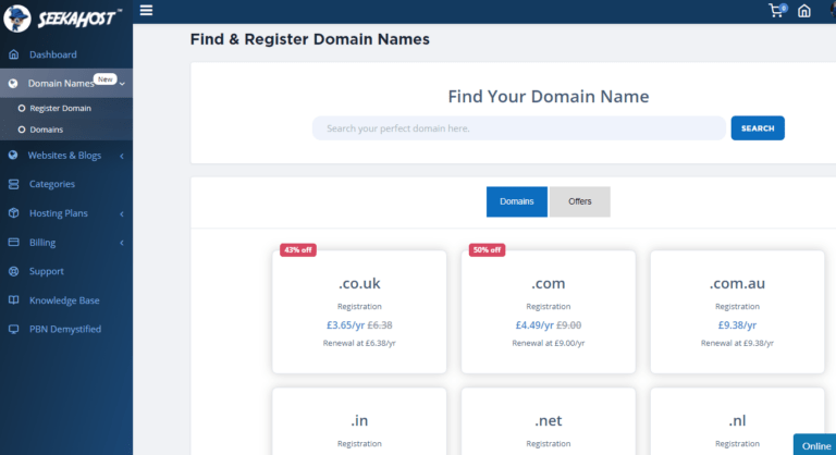 Best Domain Registration in India via free SeekaPanel for Bloggers to get Online Easier