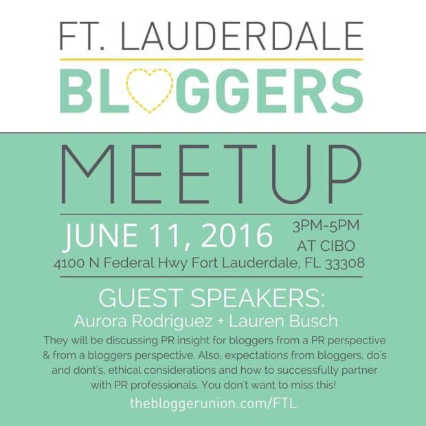 Ft Lauderdale Bloggers June Meetup Flyer