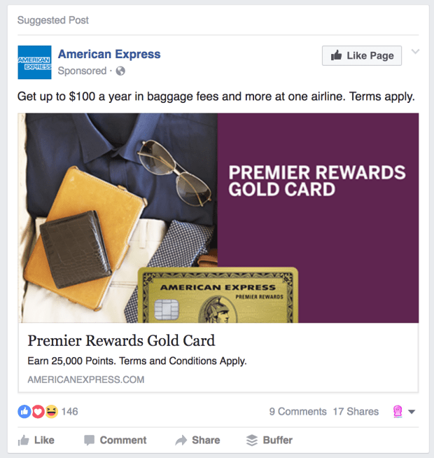 Facebook Ads Amex Like Page Example