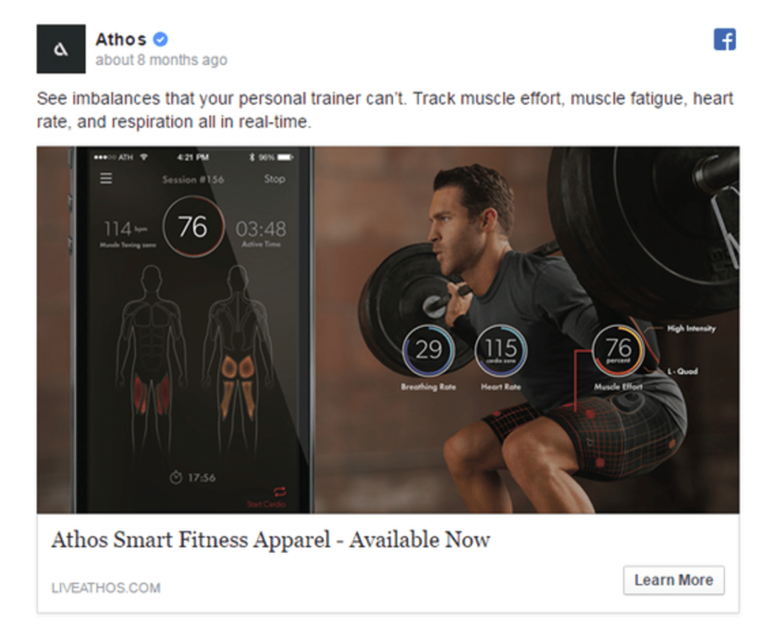 Facebook Ads Athos Sports Apparel Traffic Objective Example
