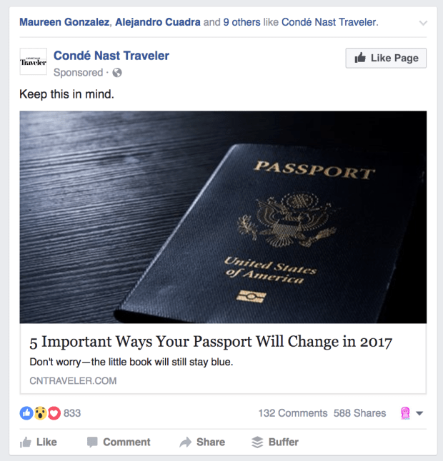 Facebook Ads Conde Nast Traveler Like Page Example