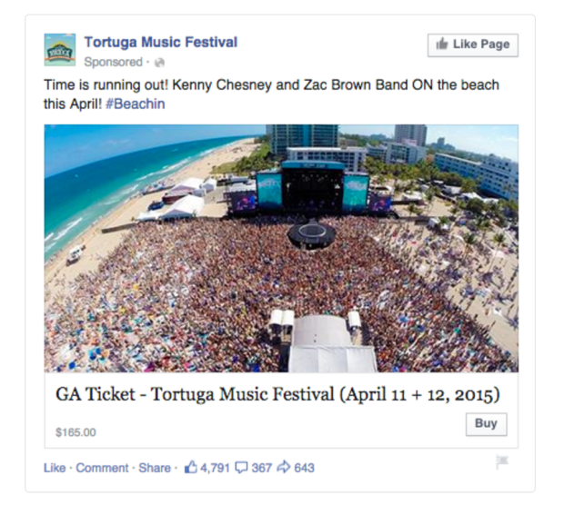 Facebook Ads Music Festival Buy CTA Example