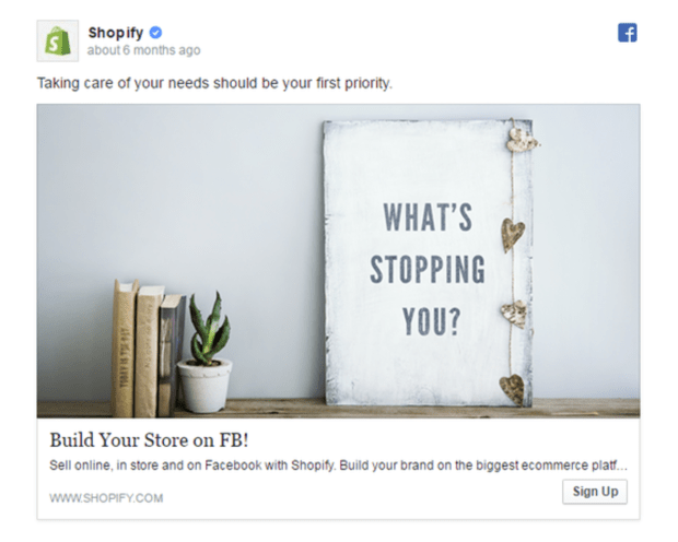 Facebook Ads Shopify Like Page Example