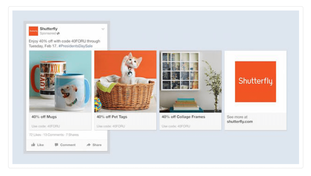 Facebook Ads Shutterfly Carrousel Example