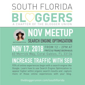 November Miami Bloggers Meetup is all about Search Engine Optimization