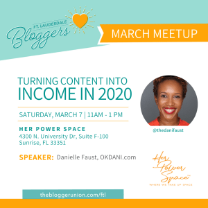 Meetup on blog monetization featuring Danielle Faust