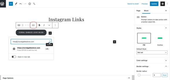 How to create a linktree with WordPress: add a link to a button