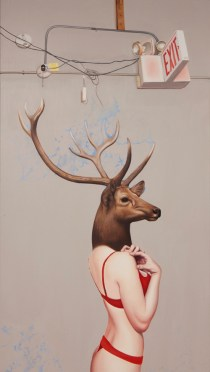 "© Emily Burns, ""Exit"" , oil on canvas, 20 x 36"", 2013."