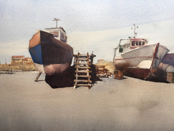 Boats in dry dock, La Cotinière, France