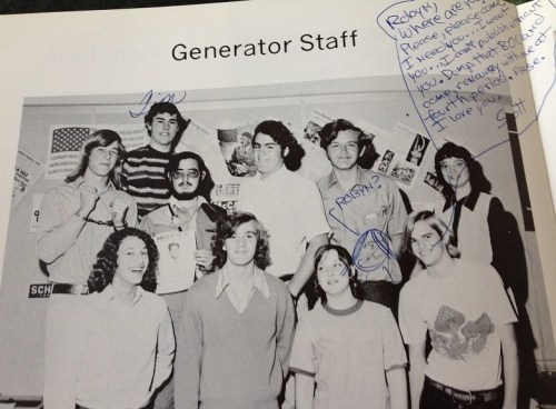 """Three of those previously mentioned: Back row: the striped shirt and boyish-grin belong to Tim Ferguson; front row: L, Pete get-a-load-of-that-1974-hair Hecht; R Scott Harris, who was engaged in a campaign to get me to leave student government (""""The BOC"""") and join The Generator staff, which almost excuses explains his scribbled commentary; second from R, Janis Carr."""