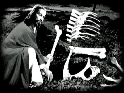 jesus burying dinosaur bones