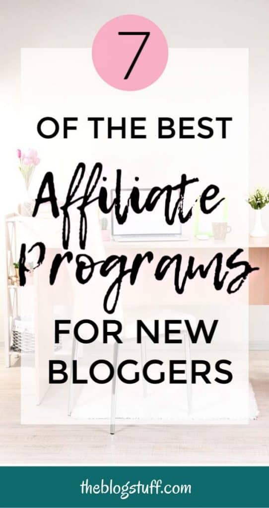 Desk with laptop and overlay text - Best affiliate programs for beginners