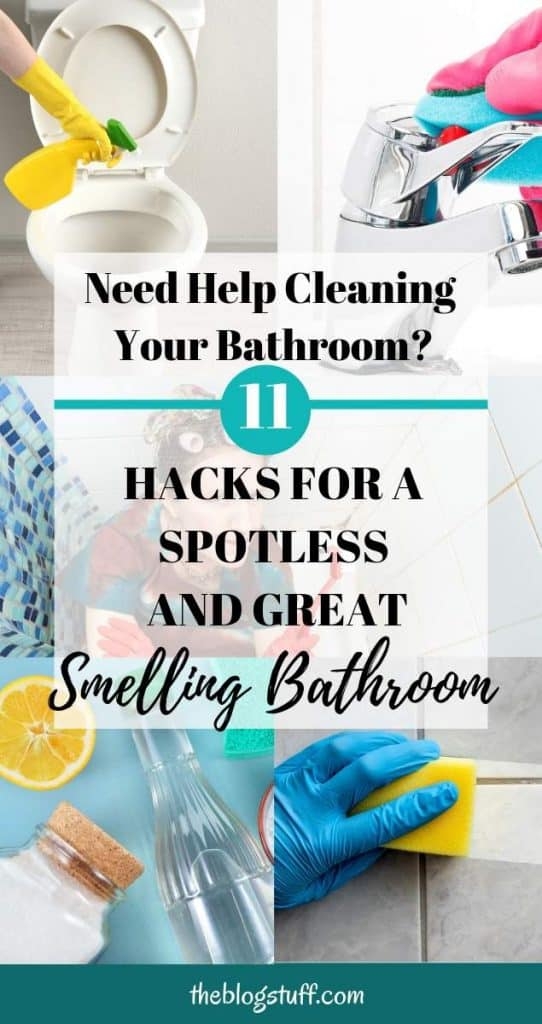 Cleaning bathroom with text overlay - Bathroom cleaning hacks