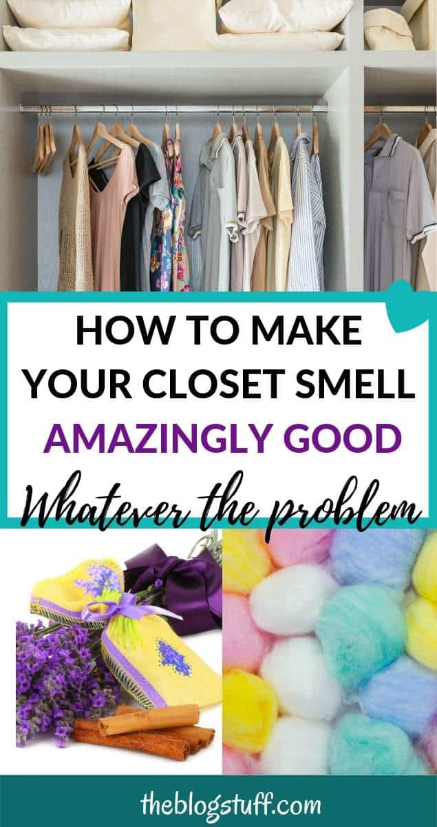 closet, cotton balls, lavender sachet with text overlay - How to make your closet smell amanzinly good whatever the smell