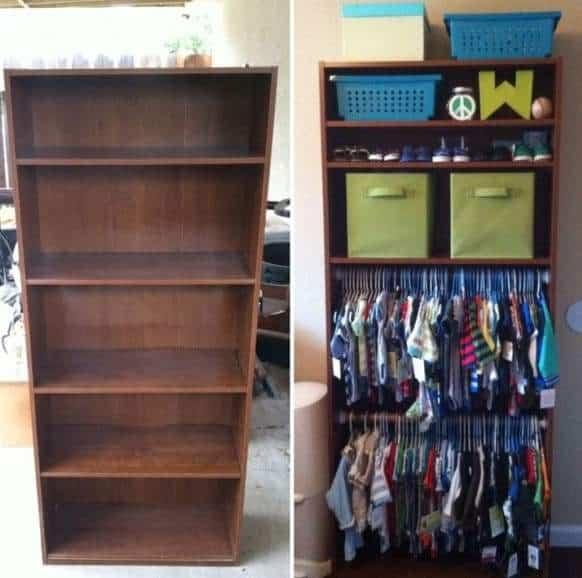 Book care transformation into baby closet