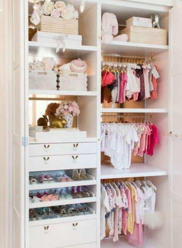 Well organized baby closet with plenty of storage space