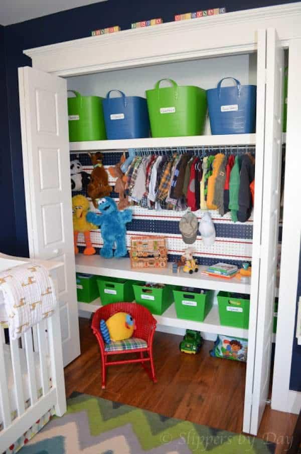 Closet storage ideas for baby clothes