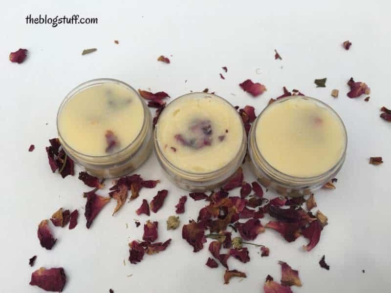 Diy lip balm with beeswax and rose petals