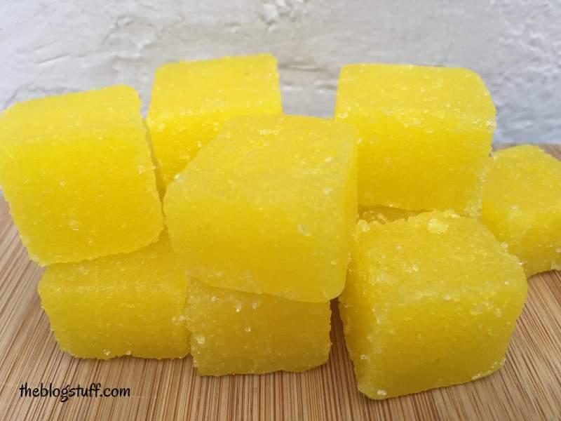 Diy sugar scrub cubes with lemon essential oil