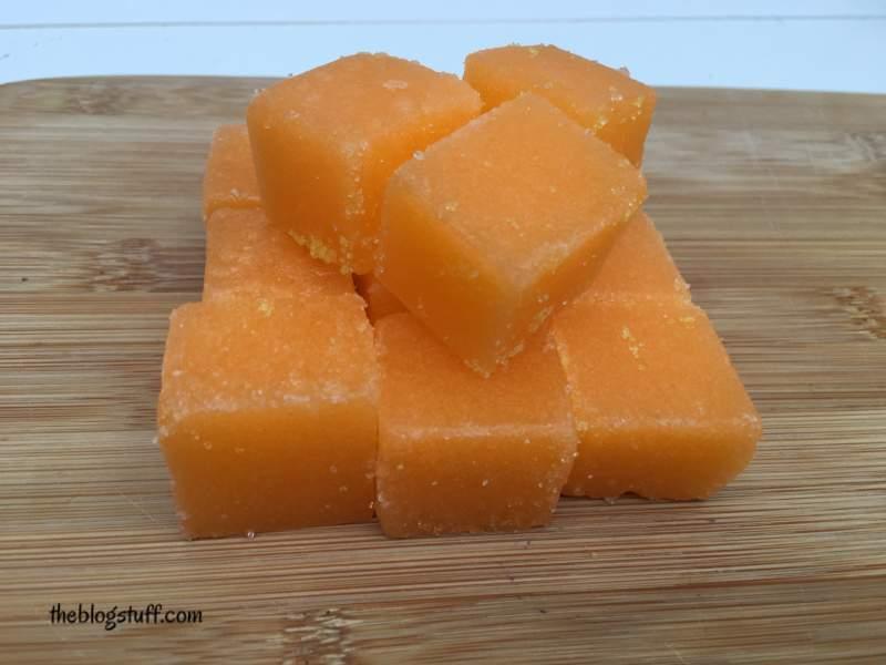 Diy sugar scrub cubes with orange essential oil