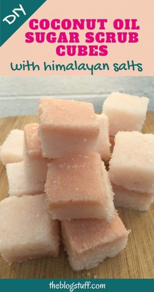Homemade coconut oil sugar scrub cubes