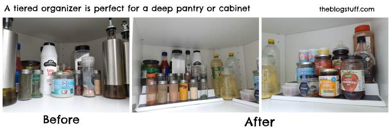 Use a tiered food organizer in deep pantry