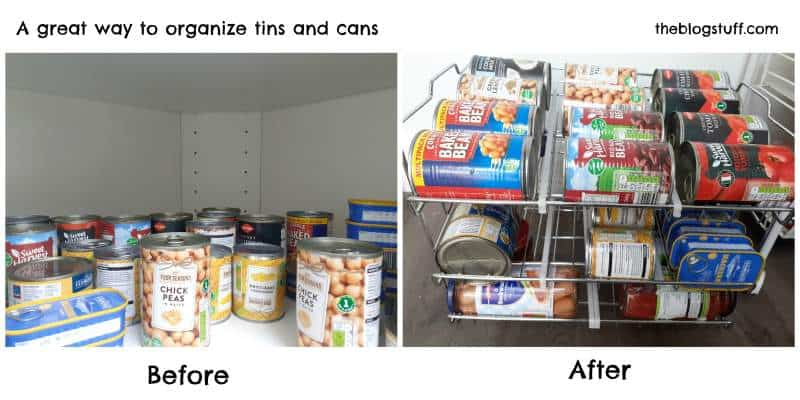 How to organize cans in kitchen