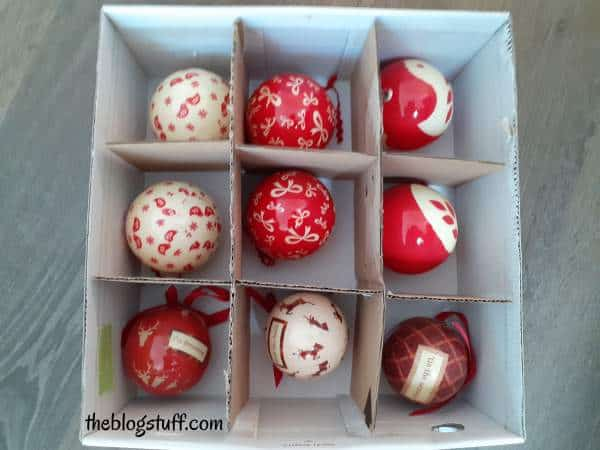 DIY carboard dividers in box to organize Christmas tree ornaments