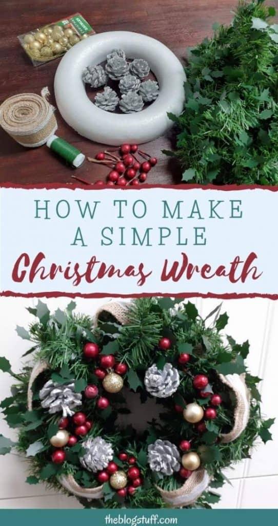 Homemade rustic Christmas wreath