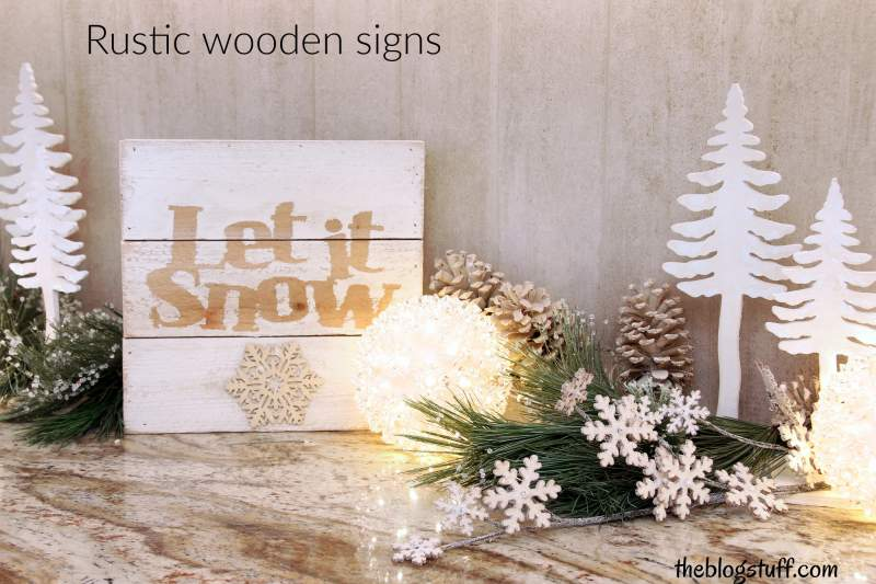 Christmas rustic sign and ornaments