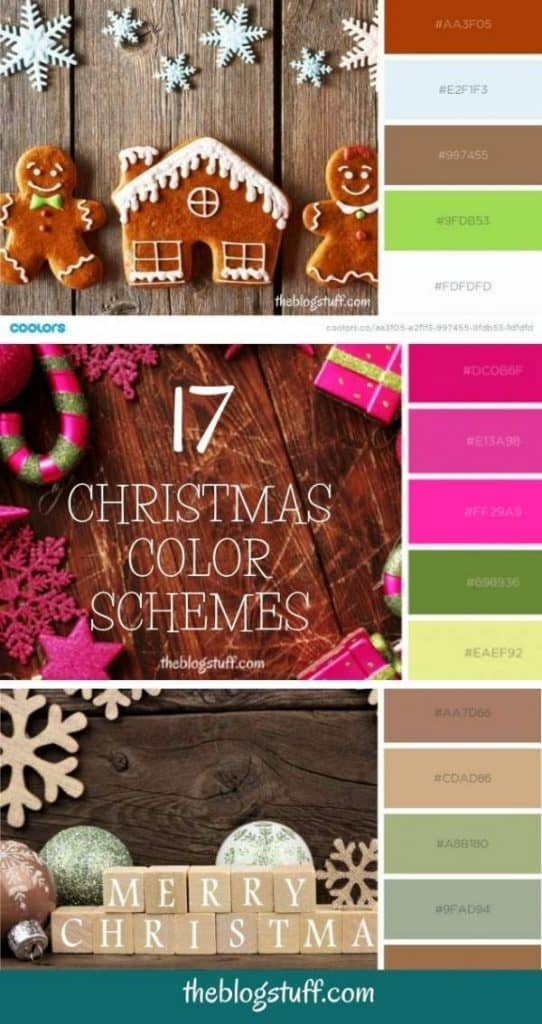 Christmas color palette with hex