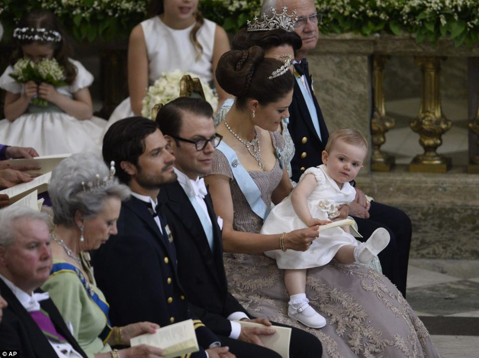 Crown Princess Victoria of Sweden with her husband Prince Daniel and their daughter Princess Estelle.