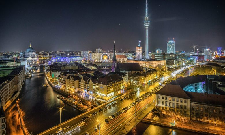 View of Berlin at night